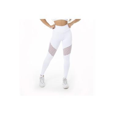 Imagem de Calça Feminina Legging Fitness Poliamida Renda Branco