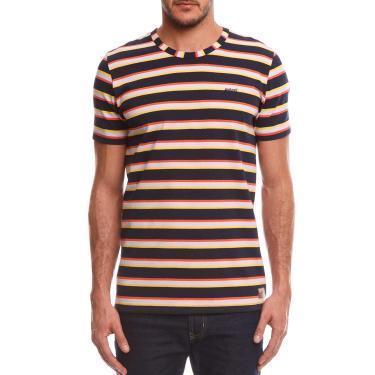 Camiseta Listrada, Colcci, Masculino, Marinho/Amarelo/Lilás/Laranja, G