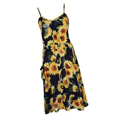 menolana Boho Strap Vestido Floral Inferior para Baixo Swing Midi Vestido - Girassol Preto M