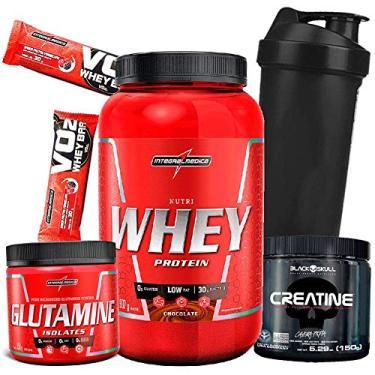 Kit Combo Suplementos Whey/wey Protein + Creatina + Glutamina