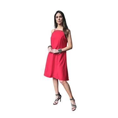 Vestido básico em crepe com elastano e detalhe de ilhoses clássico sofisticado Donna Brasiliana (Vermelho, G)