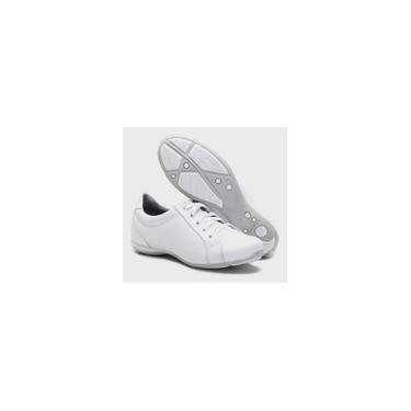 Imagem de Tênis feminino branco ortopédico casual em couro com cadarço 227/01