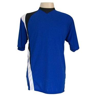 Jogo de Camisa com 14 unidades modelo PSG Royal/Preto/Branco + Brindes