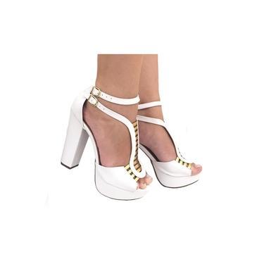 Sandalia Feminina Branca Tiras Gladiadora Meia Pata Salto Alto Salto Grosso Plataforma Sapatos