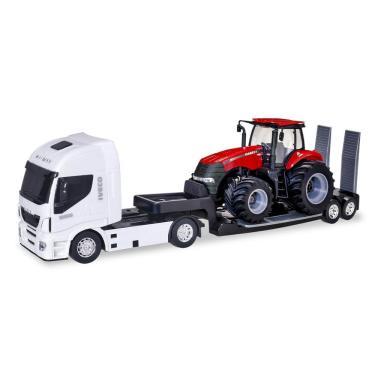Imagem de Caminhão De Brinquedo Iveco Plataforma Com Trator Case Usual