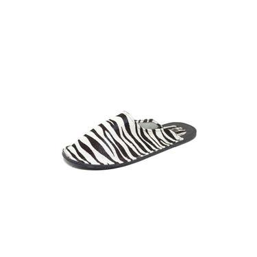 Mule Teodora's Couro Clássico Sola Pvc Zebra Branco