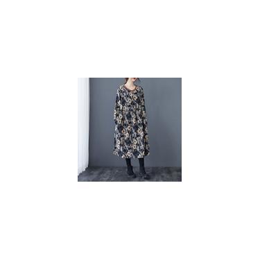 Vestido feminino com estampa floral vintage solto mangas compridas com bolso extra grande, robes casuais vestidos midi pretos
