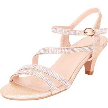 Sandália feminina Cambridge Select com tiras de cristal strass salto médio, Champagne Glitter, 6