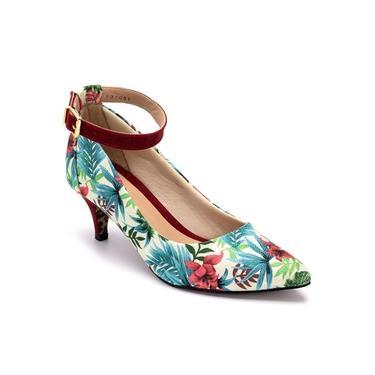 Sapato Scarpin Salto Baixo Fino Gisela Costa Floral/Natural