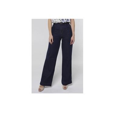 Calça Jeans Pantalona Cintura Super Alta Sob Azul Escuro