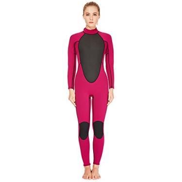 Roupa de mergulho feminina REALON 2 mm neoprene surfando, mergulho mergulho mergulho (rosa 2 mm, M)