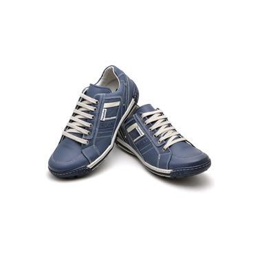 Imagem de Sapatênis Masculino em Couro Azul Ranster Comfort - 3005