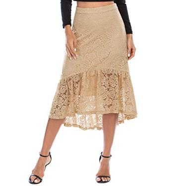 Saia feminina Bridesmay Wear to Work floral renda assimétrica, Champagne, Large