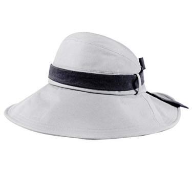 SOIMISS Chapéu de sol de aba larga dobrável chapéu de proteção anti-UV Chapéu de pescador Protetor solar para viagens ao ar livre na praia (cinza, L, 58-60 cm)