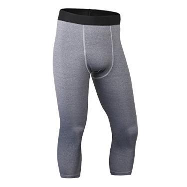 Imagem de ToXodo Calça legging masculina capri 3/4 de compressão esportiva para academia, corrida, secagem rápida, Cinza, P