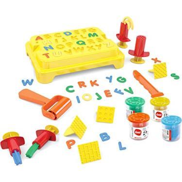 Imagem de Dismat, MK300, Massinha de Modelar Brinquedo Educativo Criança Box Alfabeto, cor Colorido, Polipropileno