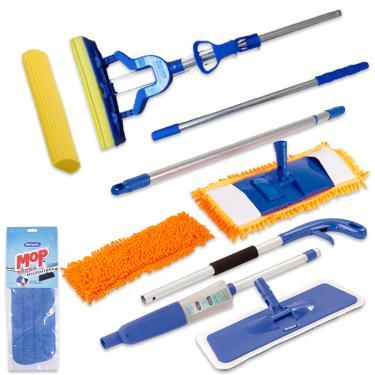 Kit Com Refil Extra Spray Mop Mop Tira Pó Rodo Mágico