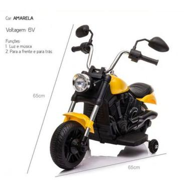 Imagem de Moto Mini Elétrica Motocicleta Custom 6V Amarela Bang Toys