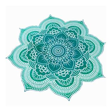 Imagem de Nuolux Toalha de praia, tapeçaria de mandala, formato de flor de lótus, toalha redonda hippie cigana boho para ambientes externos, toalha de mesa, tapete de ioga para pendurar (roxo), Green,vert