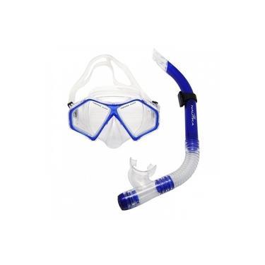 Kit Mergulho com Mascara e Respirador Adulto Nautika Modelo Spider Snorkel