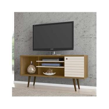 Rack para TV Até 55 Polegadas 1 Porta 2 Prateleiras Safira 2075270 Cinamomo/Off White