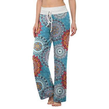 LONGYUAN Calça de pijama feminina confortável casual para ioga, cordão Palazzo Lounge Calça pantalona para todas as estações, Mix Blue, XL
