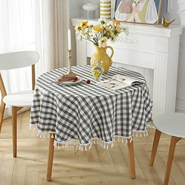 Imagem de jia cool Toalha de mesa de linho de algodão com borla para jantar de cozinha, toalhas de mesa sem rugas (220 cm redondo, preto, cinza)