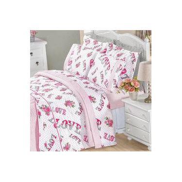 7b0b1bed6b Kit Jogo de Cama Love Casal 180 Fios Rosa 6 peças com Travesseiro Juma Par