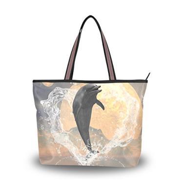 ColourLife Bolsa tiracolo de poliéster com alça de ombro e golfinho pulando fora do coração, Colorido., Large