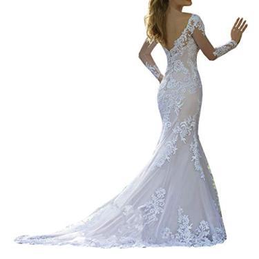 Imagem de Solandia Elegante vestido de baile de noiva plus size renda praia sereia vestidos de casamento para noiva com cauda de manga comprida, Branco, 26 Plus