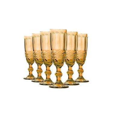 Jogo de Taça Champagne Elegance Amber 140 ml Class Home