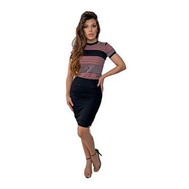 Vestido Midi Preto/Cinza e Rosa Elegante Com Listras 2830 Tamanho:P;Cor:Preto