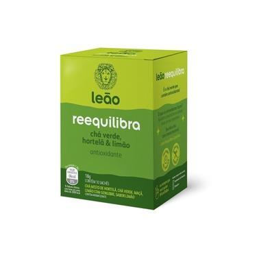 Cha Funcionais Reequilibra Cha Verde, Hortela e Limao Sache 18g CX 10 1 UN Leao