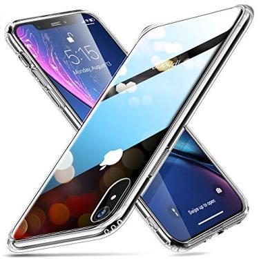 ESR Mimic - Estojo de vidro temperado para iPhone XR, 9H (imita vidro traseiro do iPhone XR, resistente a arranhões) + Protetor de silicone macio [absorção de choque] para iPhone XR, transparente