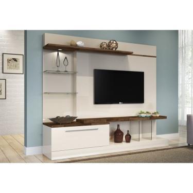 Estante Home Theater Para TV até 60 Pol. Allure Off White/Deck - HB Móveis
