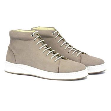 Bota Sneaker Couro Masculino Cano Médio Dia a Dia Confort Cinza 44
