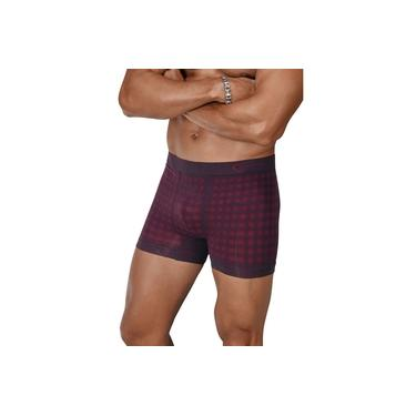 Cueca Boxer Xadrez Ultraleve Zeus DeMillus 90906 Carmim