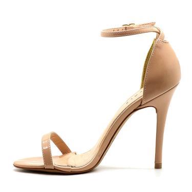 Sandália Royalz Verniz Salto Alto Fino Tira Creme  feminino