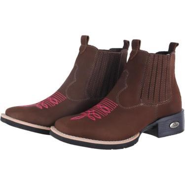 Bota Botina Feminina Texana Pessoni Boots & Shoes Couro Cano Curto Marrom  feminino