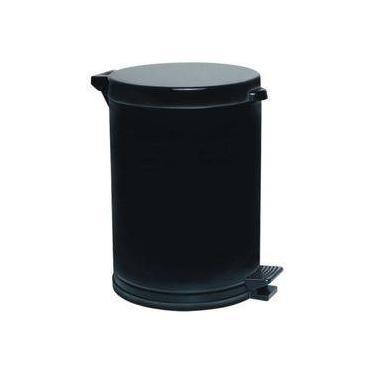 Lixeira Preta C/Pedal Recipiente Plástico 4,5 lts - Viel