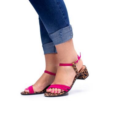 Imagem de Sandália Tiras Finas Mr Try Shoes Salto Bloco Clássico Onça e Pink Onca/Pink  feminino
