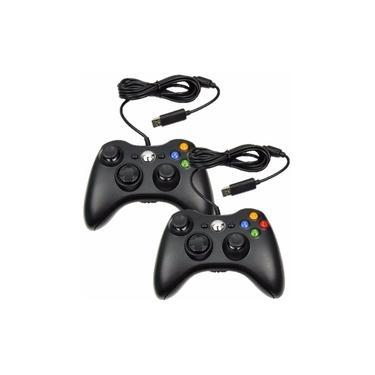 Kit 2 Controle Manete Xbox 360 Pc Com Fio Original Feir Preto