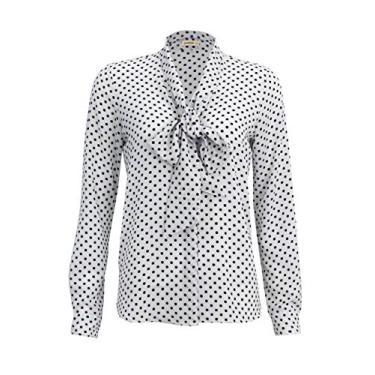 Camisa Intens Manga Longa Crepe Poá Laço Branco (GG, Branco)