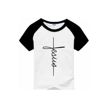 Camiseta Raglan Infantil Jesus Cruz Evangélica