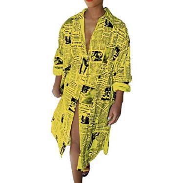 UUYUK Vestido feminino casual de manga comprida com estampa de jornais e botões, Amarelo, Medium