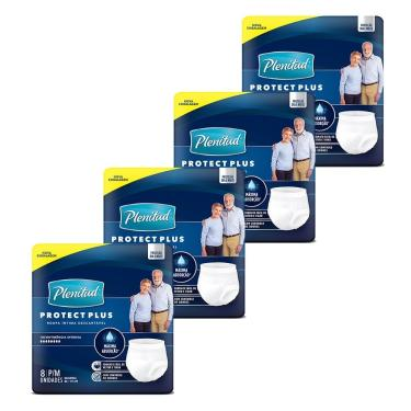 Imagem de Fralda Descartável Geriátrica/Adulto Plenitud Protect Plus Tamanho P/M 4 Pacotes com 8 Tiras