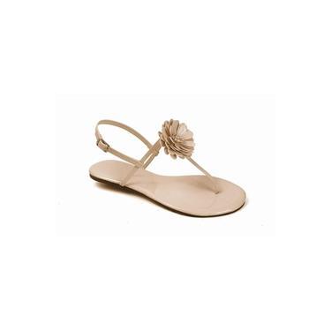 Sandália Flat Feminina Mercedita Shoes Verniz Com Flor Gelo