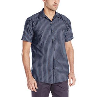 Imagem de Red Kap Camisa masculina de trabalho industrial, ajuste regular, manga curta, Listra cinza/azul, 5X-Large Tall