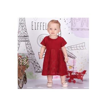 Vestido Infantil Fofinho Tricô Leve Clara Luxo Vermelho