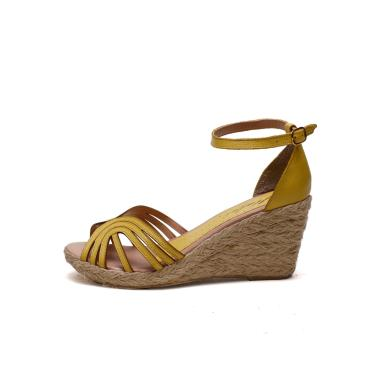 Imagem de Sandália Anabela Plataforma SB Shoes ref.1275 Amarelo lima  feminino